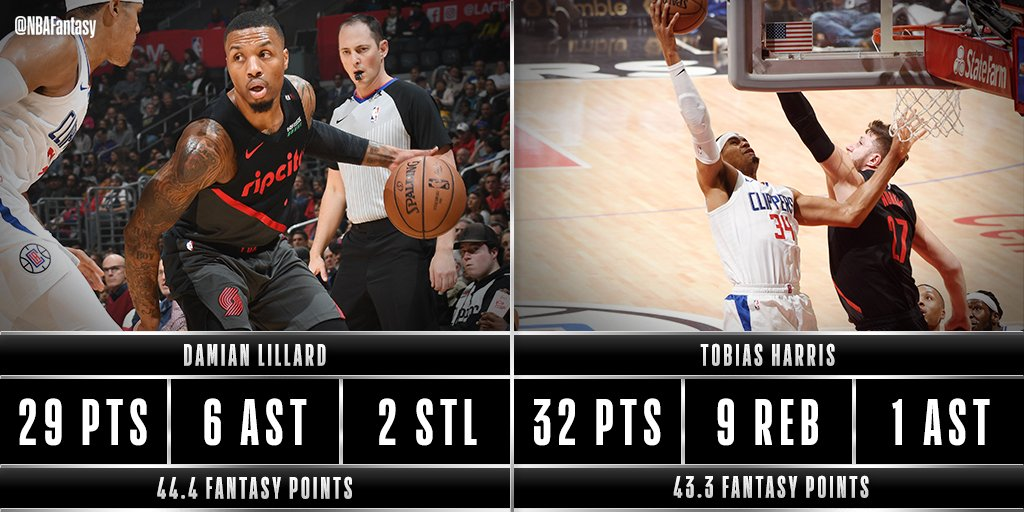 Damian Lillard & Tobias Harris both over 40 #NBAFantasy points for the @trailblazers & @LAClippers as we head to Q4 in LA!  #RipCity #ClipperNation