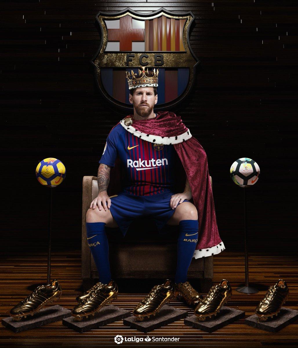 👑 ¡Su majestad REY DEL GOL! 👑  👟🥇 2009-10  👟🥇 2011-12  👟🥇 2012-13  👟🥇 2016-17  👟🥇 2017-18  ¡Messi gana su quinta BOTA DE ORO y se convierte en el futbolista que más veces ha conquistado este trofeo! 🔝⚽