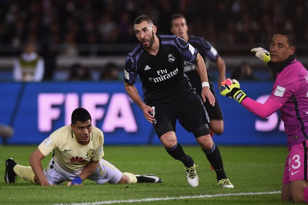 📷 Throwback: Karim Benzema celebrates after scoring against Club America in the #ClubWorldCup semifinals.