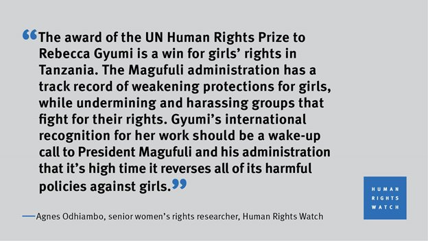 This year's UN Human Rights Prize was awarded to Rebecca Gyumi, a Tanzanian girls' rights activist who led a landmark case to overturn the country's marriage law to increase the legal age of marriage to 18 for girls and boys. @hrw comment:<br>http://pic.twitter.com/Lv3BwJHqvB