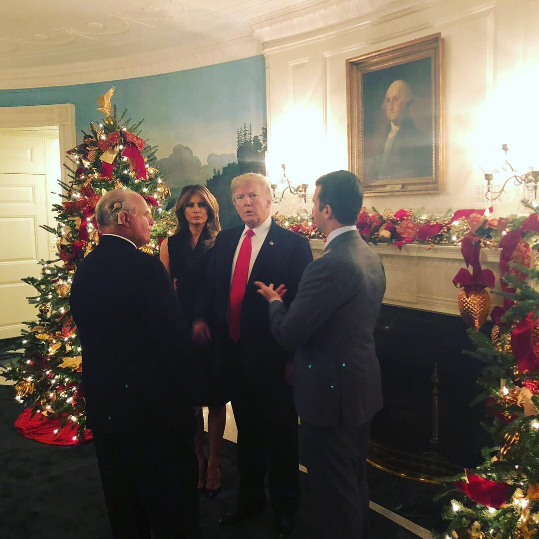 Hanging out at The White House Christmas Party with @FLOTUS @realDonaldTrump and the legendary Rush Limbaugh. #whitehouse #christmas #party #rushlimbaugh