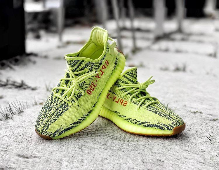 semi frozen yellow yeezy on feet buy