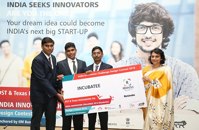 Another milestone achieved and the bar is raised. The startup Rekindle Automation, one of #IICDC2016 's winning teams, has been awarded its first patent. Along with partners @mygovindia @nsrcel  and @IndiaDST congratulations to the young entrepreneurs! https://t.co/mYjsY8Q6Zj