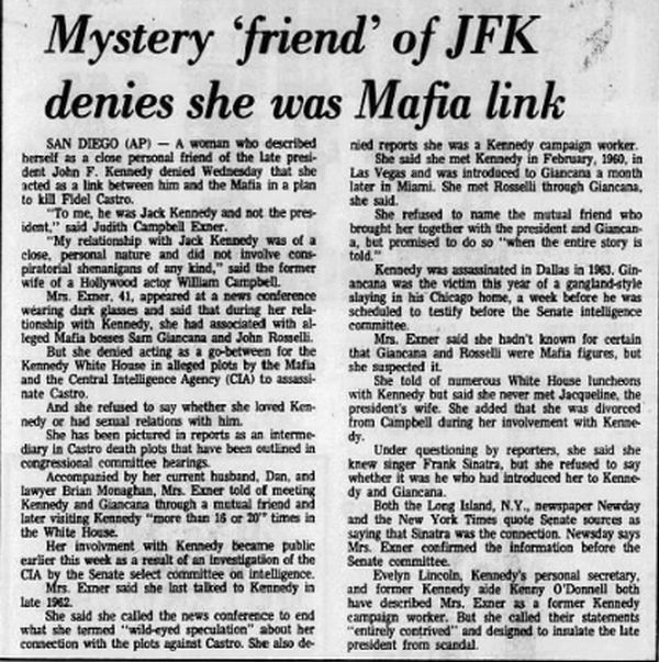 """Mystery 'Friend' Of JFK Denies She Was Mafia Link"" December 18, 1975 #History #OTD #OnThisDay  #JFK  More at: http://www.newsobscure.com/"