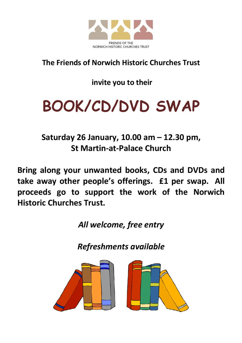 Our lovely Friends group are organising a bookswap here at St Martin at Palace Church on 26 Jan. Great chance to swap any unwanted Christmas gifts. All of proceeds go to supporting the work or NHCT! #Norwich #NorwichHour #Recycle<br>http://pic.twitter.com/QTifOdSMFB