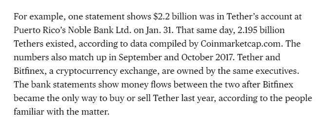 Bank statements reviewed by Bloomberg confirm that Tether, the controversial digital currency, *does* in fact have the money that it claims to have in a bank https://t.co/KMcNVIZ5P2 via @mattleising
