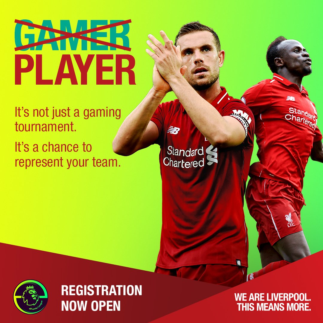 Have you got what it takes to play for @LFC?  Gamers can represent the Reds online!  Register for free (ages 16+) 👉https://e.premierleague.com/