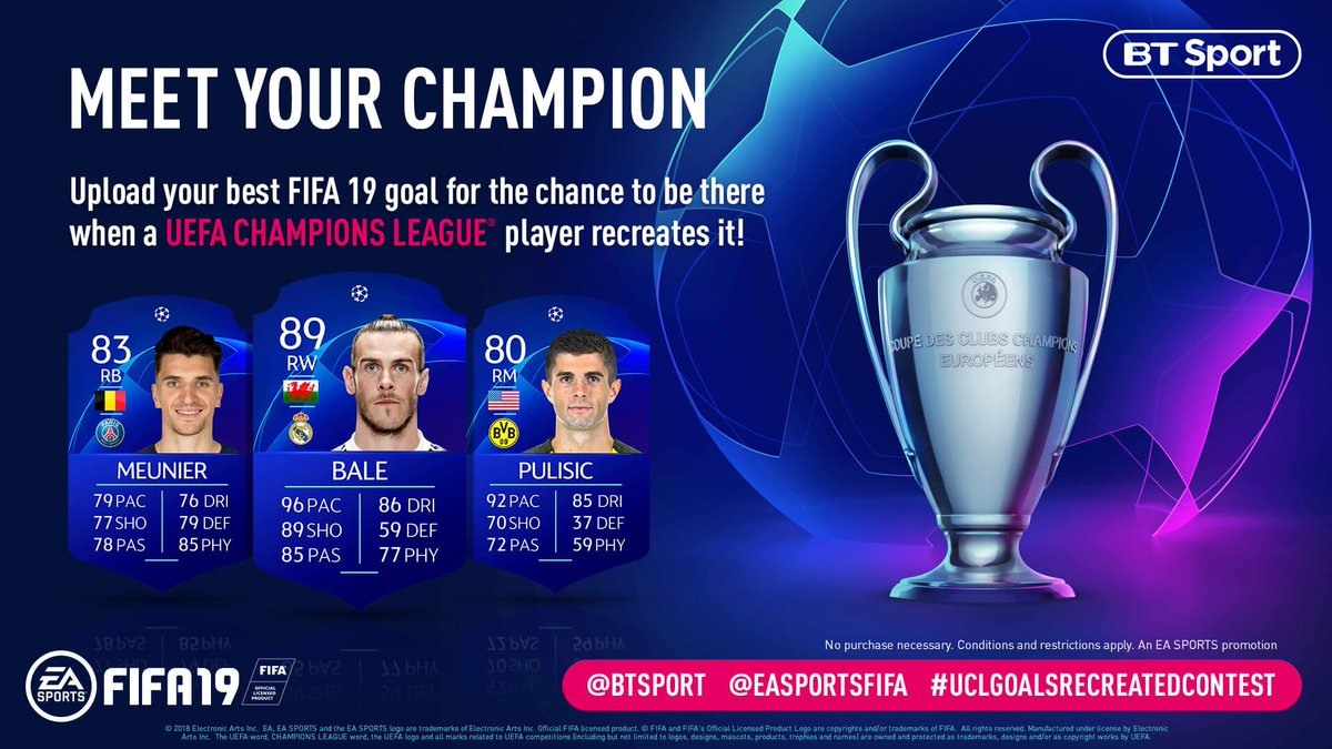 Want to see @GarethBale11, @cpulisic_10 or @ThomMills recreate your best #FIFA19 goal in real life? Here's your chance!  Full info 👉 http://x.ea.com/52186  @btsport #UCLGoalsRecreatedContest