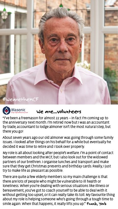 """test Twitter Media - #WearetheMCF """"I've been a freemason for almost 22 years – in fact I'm coming up to the anniversary next month. I'm retired now but I was an accountant by trade; accountant to lodge almoner isn't the most natural step, but there you go...""""  #Christmas #Charity https://t.co/9brd0kZsKG"""