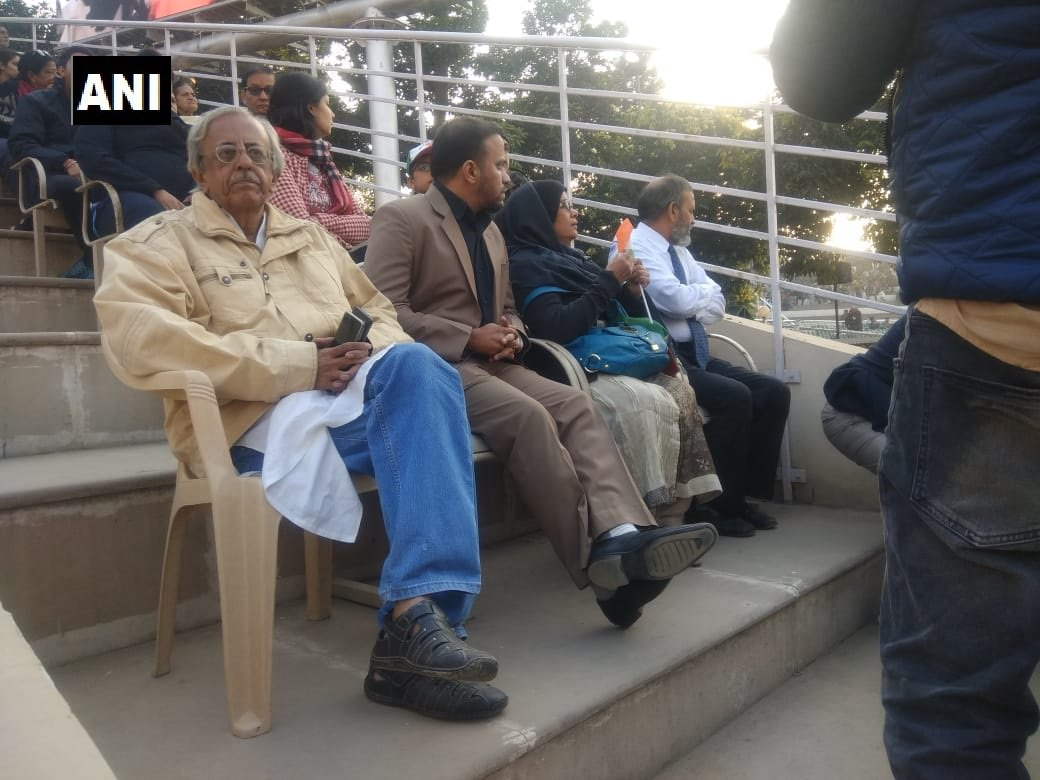 Punjab: Parents and brother of Indian national Hamid Ansari, at the Attari-Wagah border. He was lodged in a jail in Pakistan and is being released today.