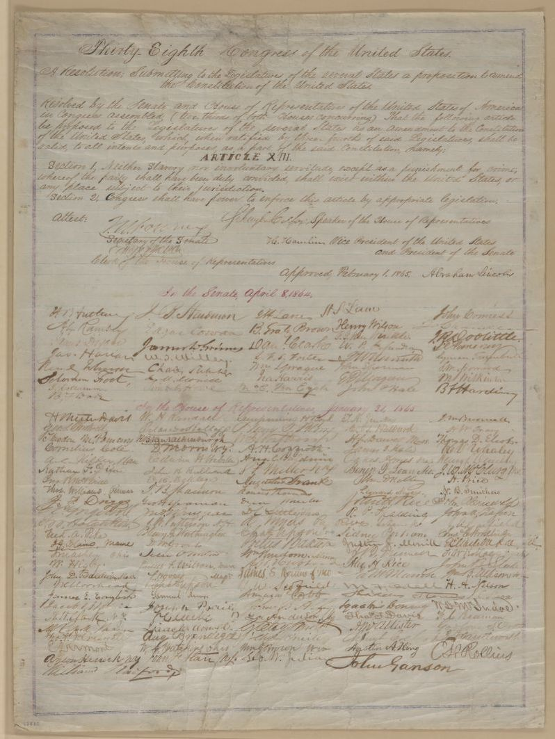 #OnThisDay in 1865, the 13th Amendment, abolishing slavery, becomes a part of the Constitution. Photo: Library of Congress <br>http://pic.twitter.com/xEq9uQLCKj