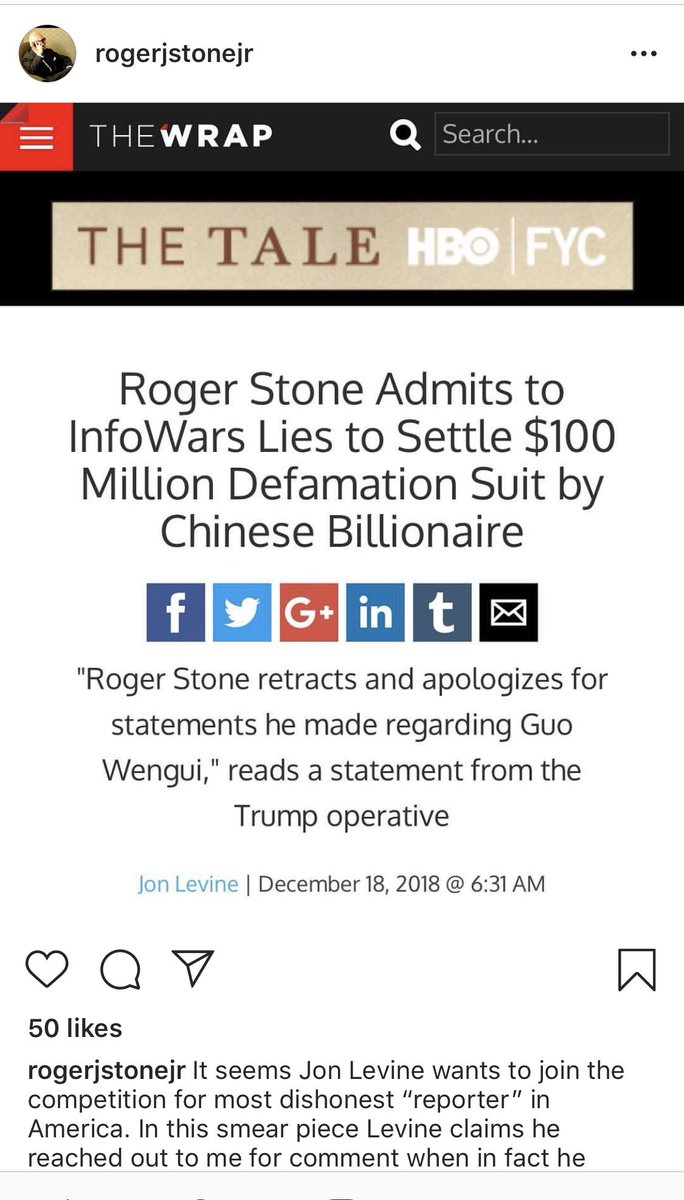 """You know you've """"made"""" it when you've gotten on to Roger Stones Instagram resentment page."""