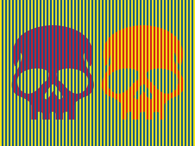 These skulls look purple and orange. They are both red. https://t.co/zXCzhent8p