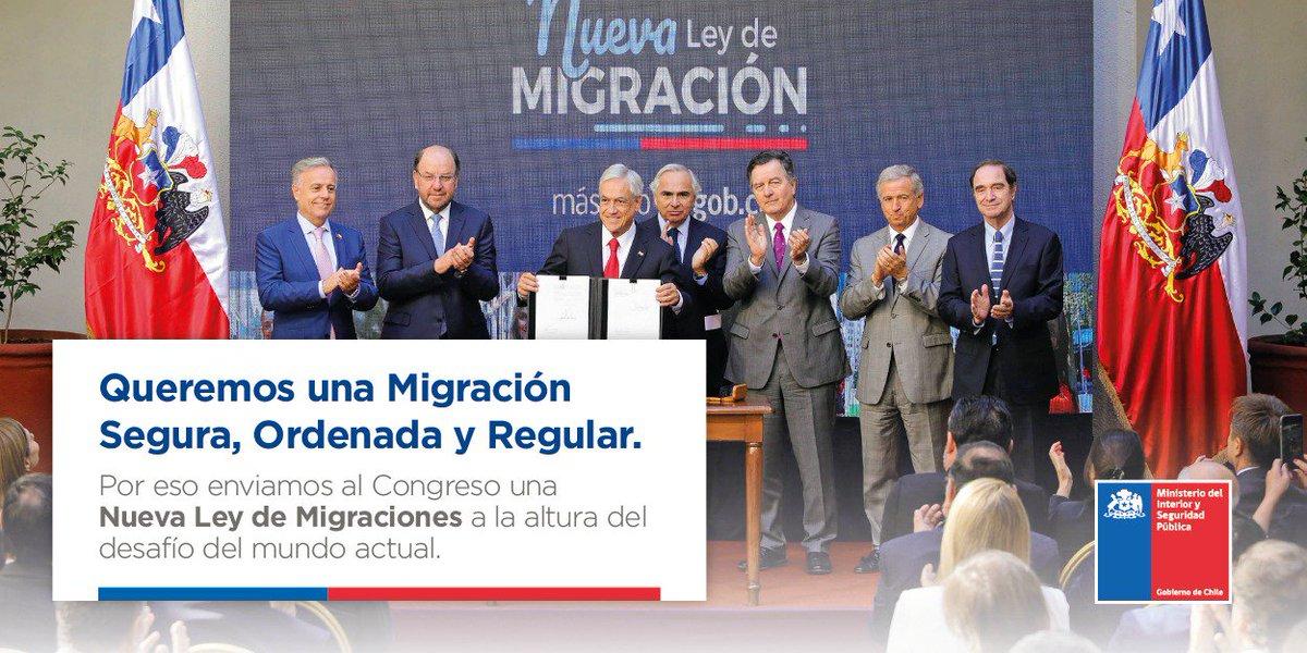 Una Nueva Ley de Migraciones junto a las categorías migratorias implementadas por el Pdte. @sebastianpinera permitirán un mayor control del Estado sobre quienes ingresan y permanecen en Chile #MigraciónOrdenada