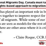 Image for the Tweet beginning: This International Migrants Day, Canada
