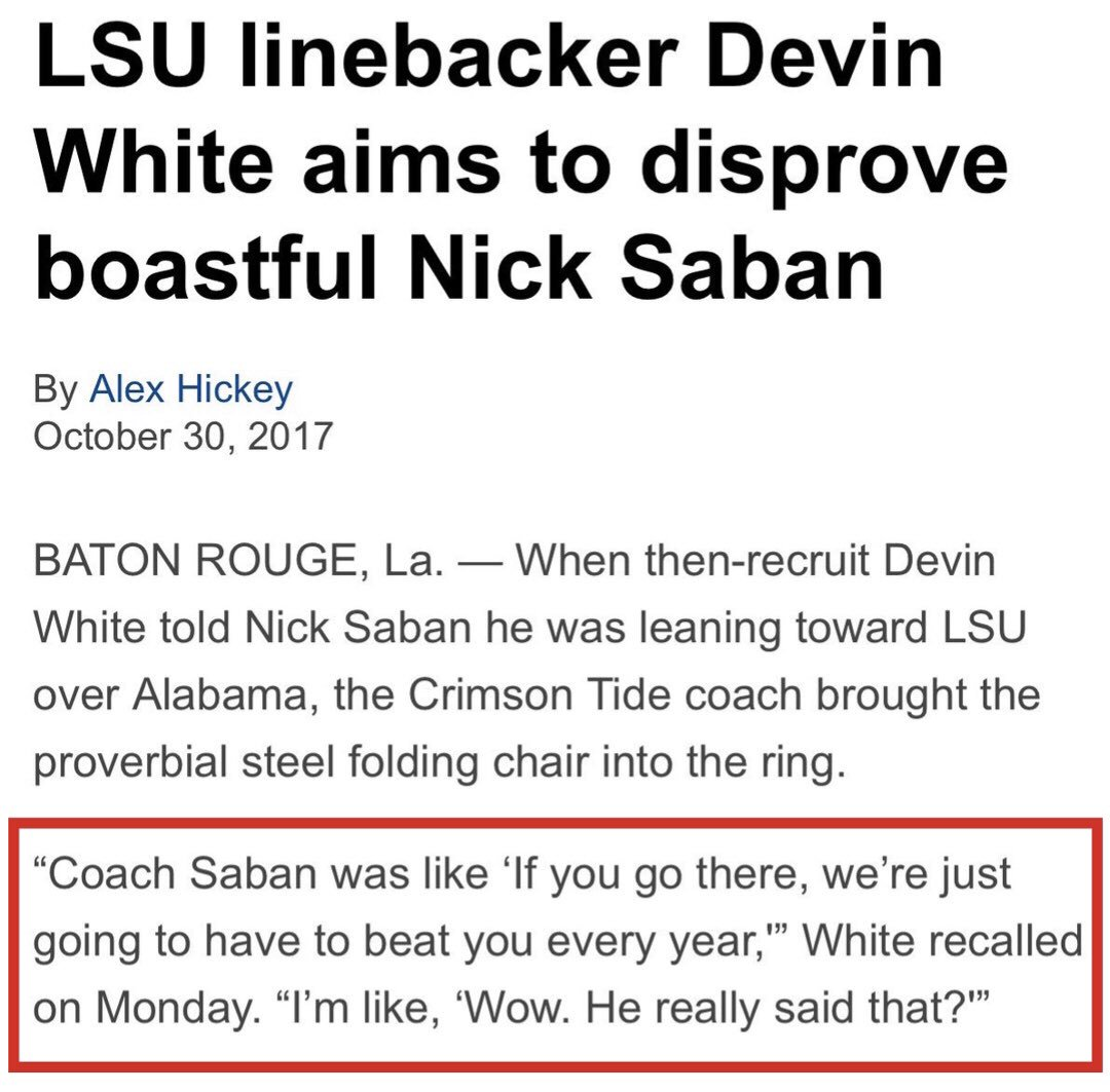 Nick Saban does not lie to recruits<br>http://pic.twitter.com/B0qvWk33nP