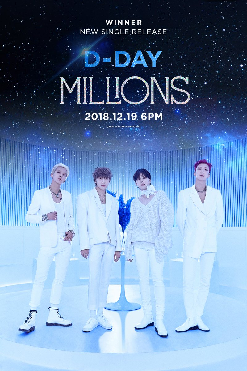 #WINNER 'MILLIONS' D-DAY POSTER  New Single & M/V Release ✅ 2018.12.19      #위너 #NEW_SINGLE#MILLIONS#D_DAY#20181219_6PM#YG