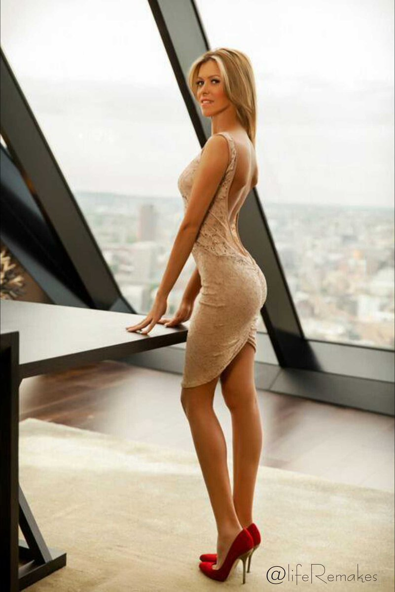 Amazingly hot blonde sexy dance in tight dress and heels