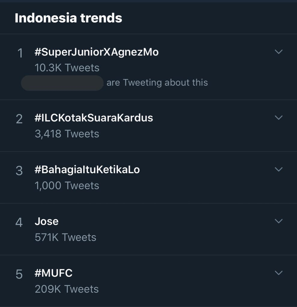 ... Over 10k tweets and nowww #SuperJuniorXAgnezMo is #1 on Indonesia trends!   OK, we really need this colab ASAP  @agnezmo @SJofficial<br>http://pic.twitter.com/rXdy3glwJ5