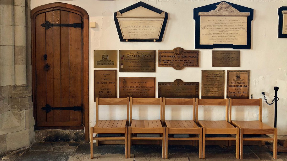 Generations of Tower residents have been baptised, married, and buried here. Over the years the walls of the Chapel have become filled with many plaques and memorials, commemorating the lives of various distinguished former residents, and others associated with the Tower. (4/7)