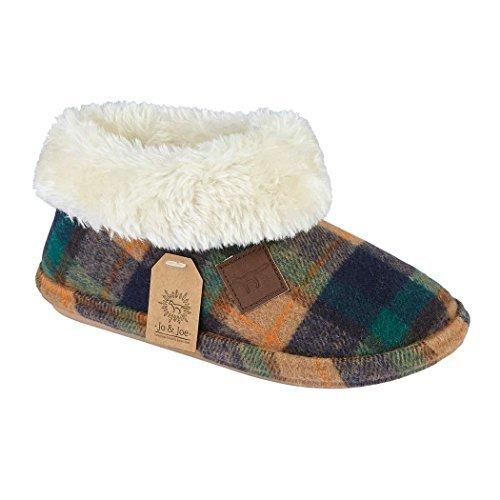 a16743e1cda7 ... Tartan) http   www.theshoesshop.co.uk jo-joe-ladies-chiltern-faux-suede- sheepskin-fur-collar-fleece-lined-bootee-slippers-size-3-8-7-uk-multi-tartan   ...