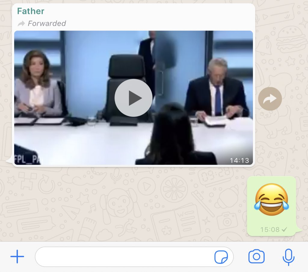 My life has just peaked!! My father just sent me this video by WhatsApp 😂
