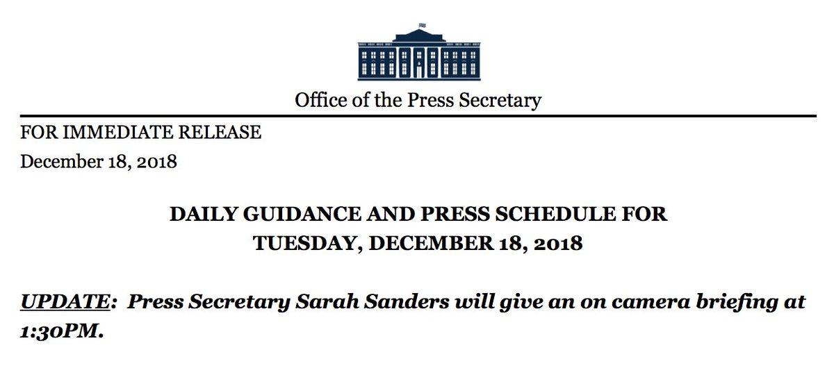 NEW: White House press secretary Sarah Sanders will give an on-camera press briefing at 1:30 p.m. today. https://t.co/K63j6LPsaA