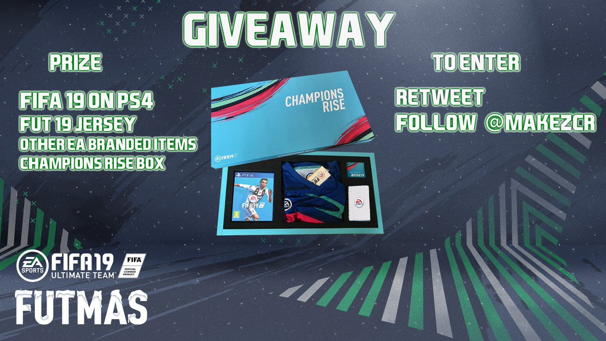 GIVEAWAY!!  Prize ▪️FIFA 19 on PS4 ▪️FUT 19 Jersey ▪️EA SPORTS sweatband, silicone band and lanyard ▪️All packaged in an exclusive Champions Rise box  To Enter ▪️Retweet ▪️Follow @MakezCR  Winner announced on the 24th of December! #SponsoredByEA #FUTMAS #FIFA19 @easportssuomi