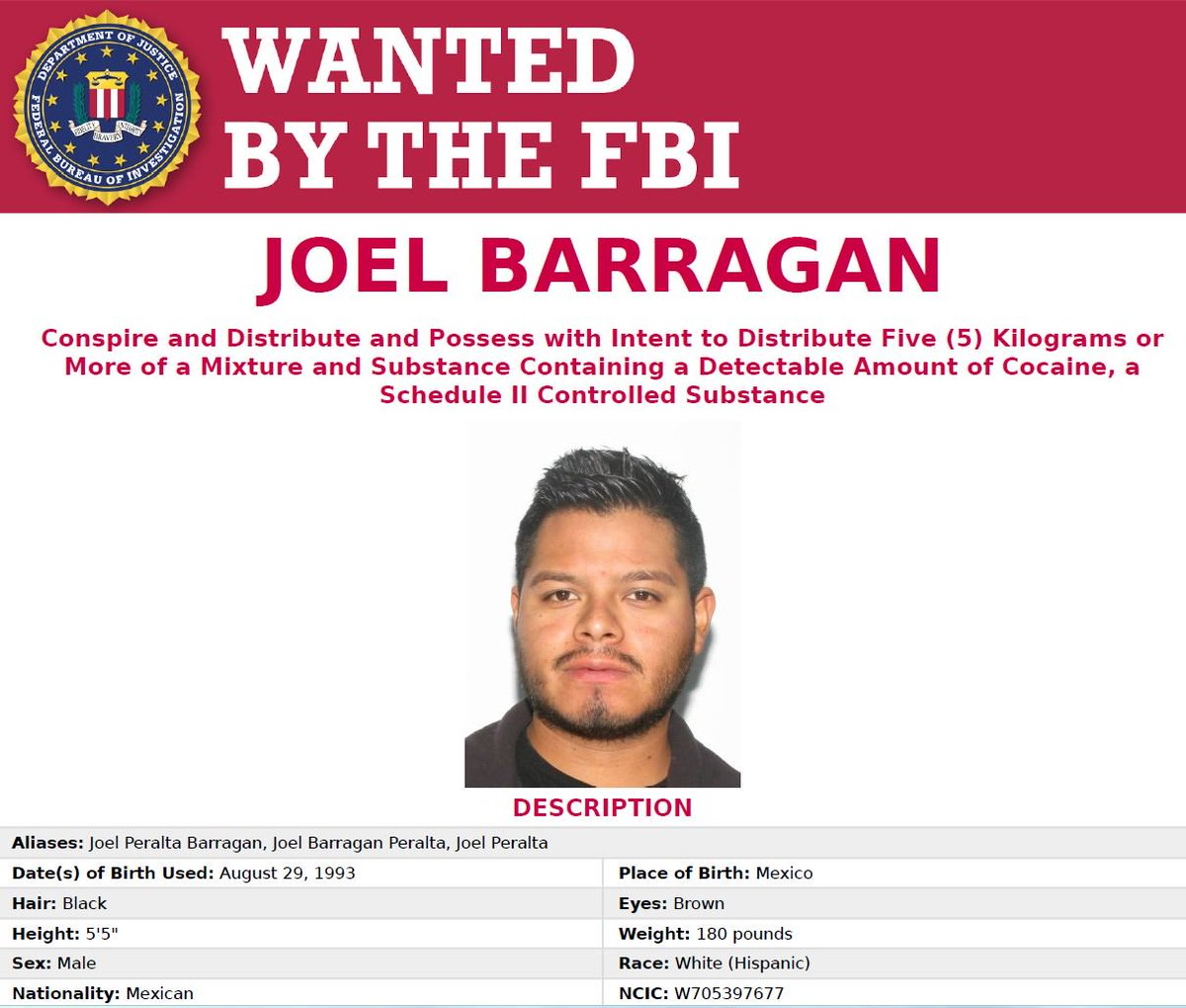 Joel Barragan, an alleged member of a Mexican-based drug cartel, is #wanted by the #FBI for his alleged role in a Transnational Criminal Organization responsible for importing and distributing large quantities of cocaine in the United States. Seen him? fbi.gov/wanted/cei/joe…