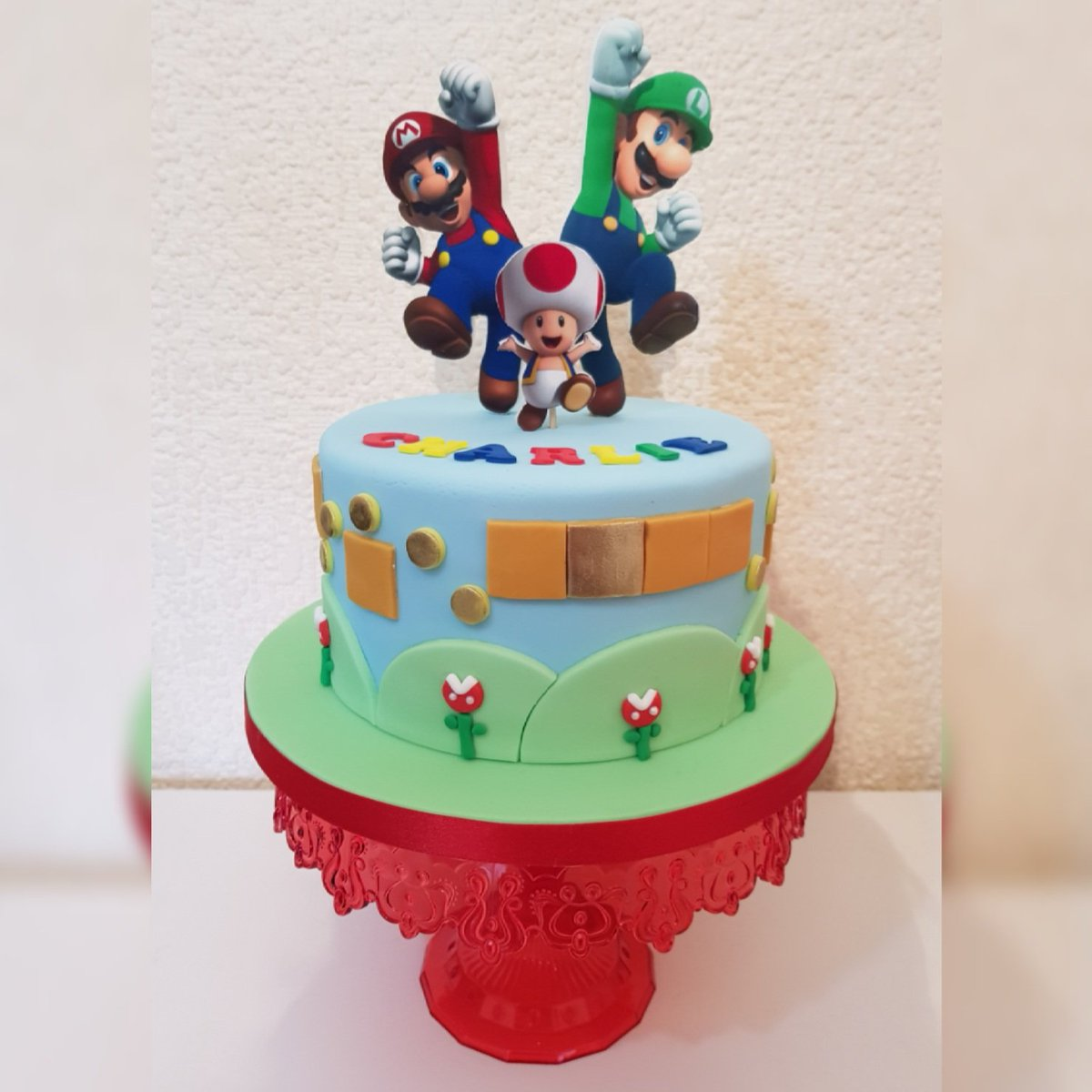 Super Auntie Cake On Twitter Mario Cake For My Nephews 5Th Birthday Personalised Birthday Cards Veneteletsinfo