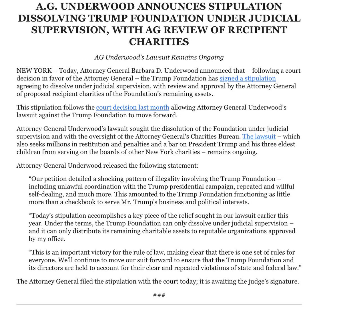 NEW: Announcement from NY AG, saying Trump Foundation will dissolve under judicial supervision.