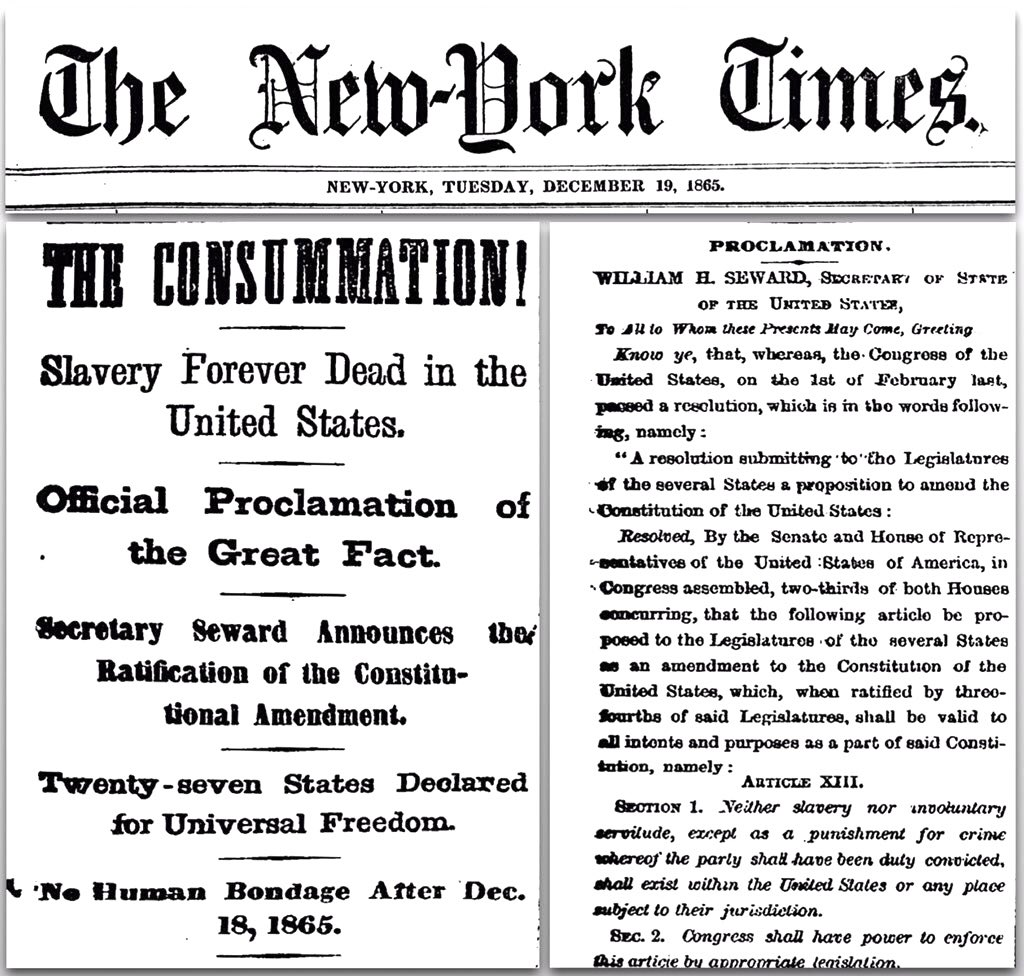 On December 18, 1865, the 13th Amendment was adopted, ensuring that &#39;neither slavery nor involuntary servitude…shall exist within the U.S.&#39; <br>http://pic.twitter.com/4GxzR1Hvfa