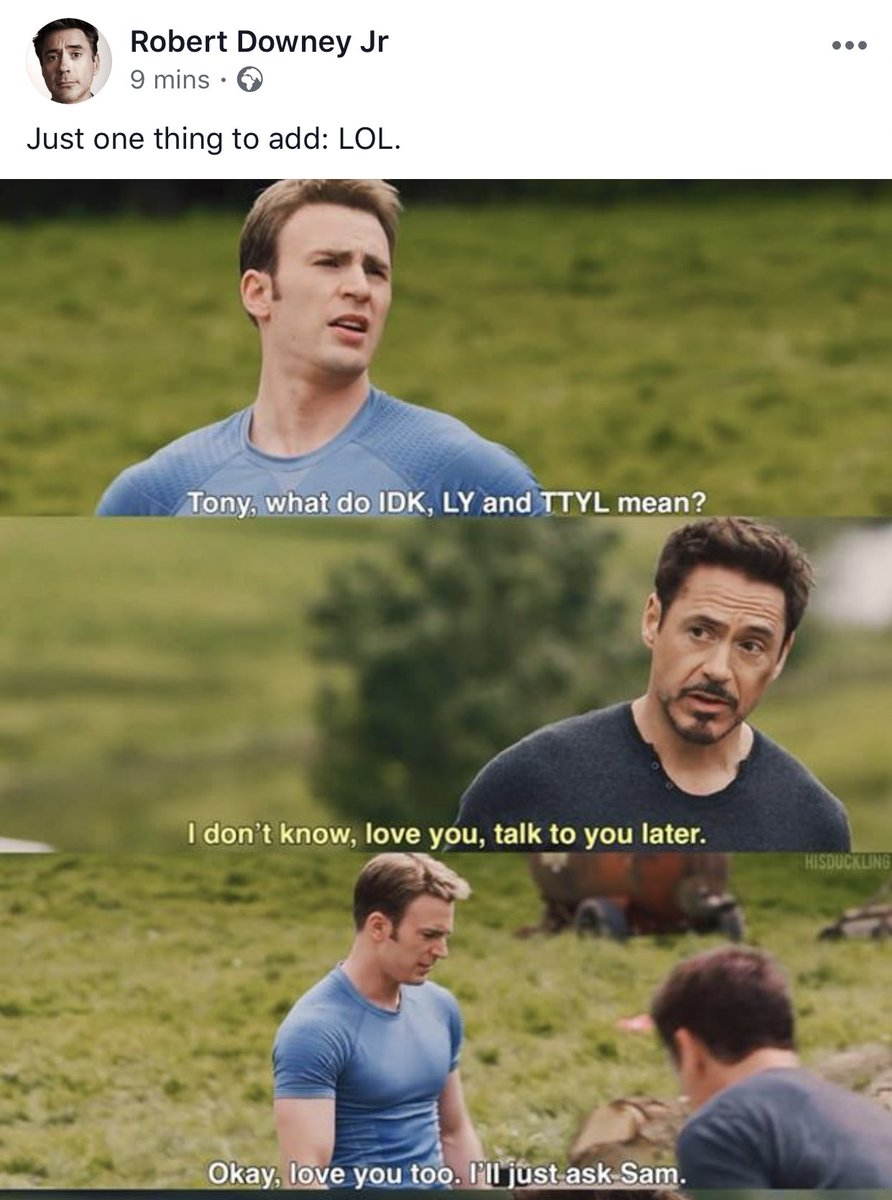 someone let robert downey jr as tony stark kiss chris evans as captain america because he needs that