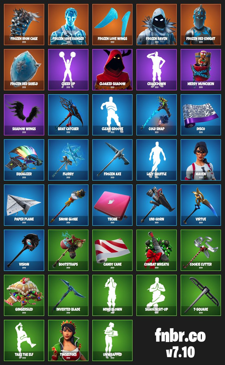 Here's every unreleased cosmetic added with today's v7.10 patch! #Fortnite