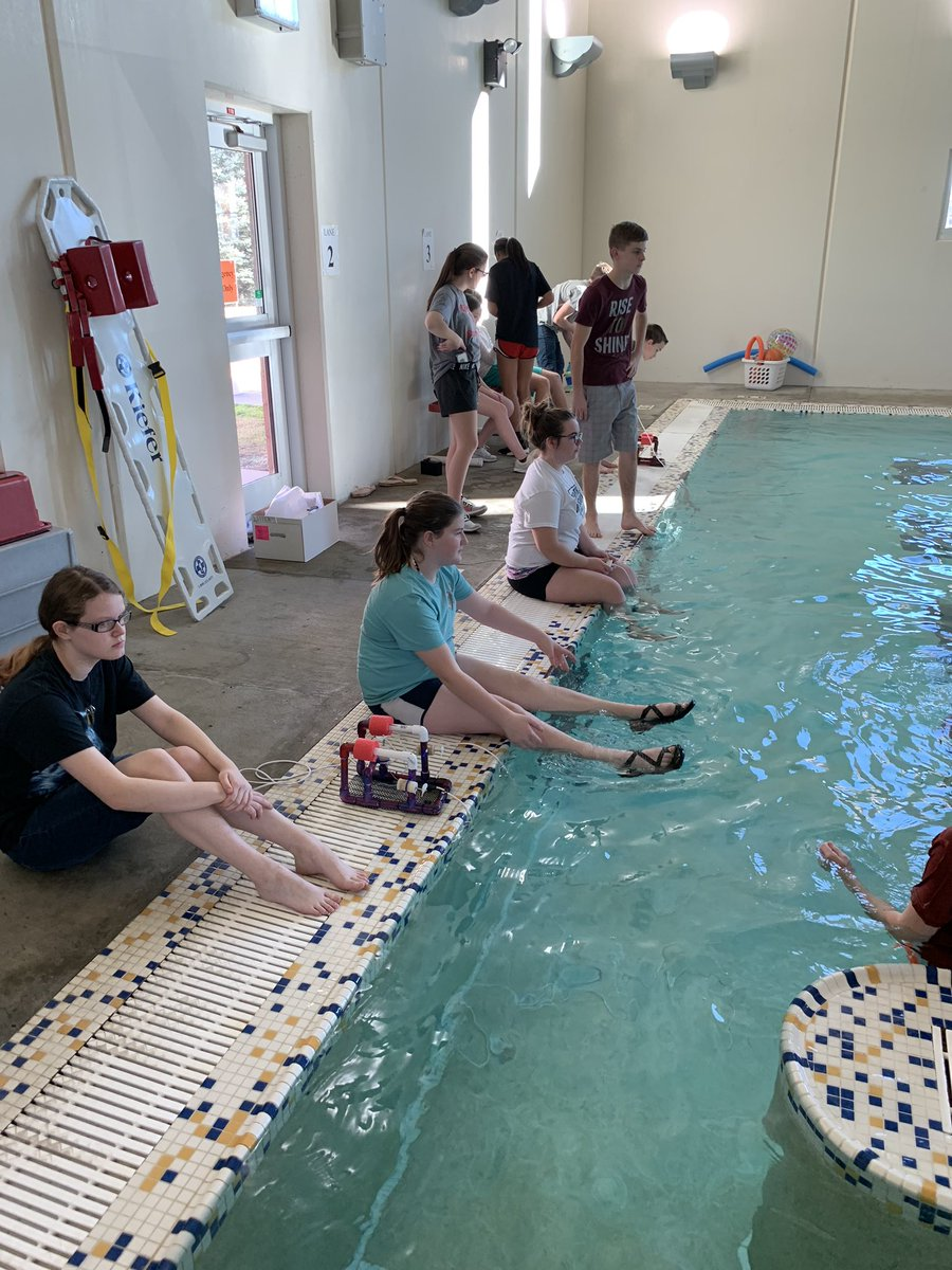 At the pool for our @seaperch robotics competition! Races are complete - next up: the obstacle course! @CMSCardinals