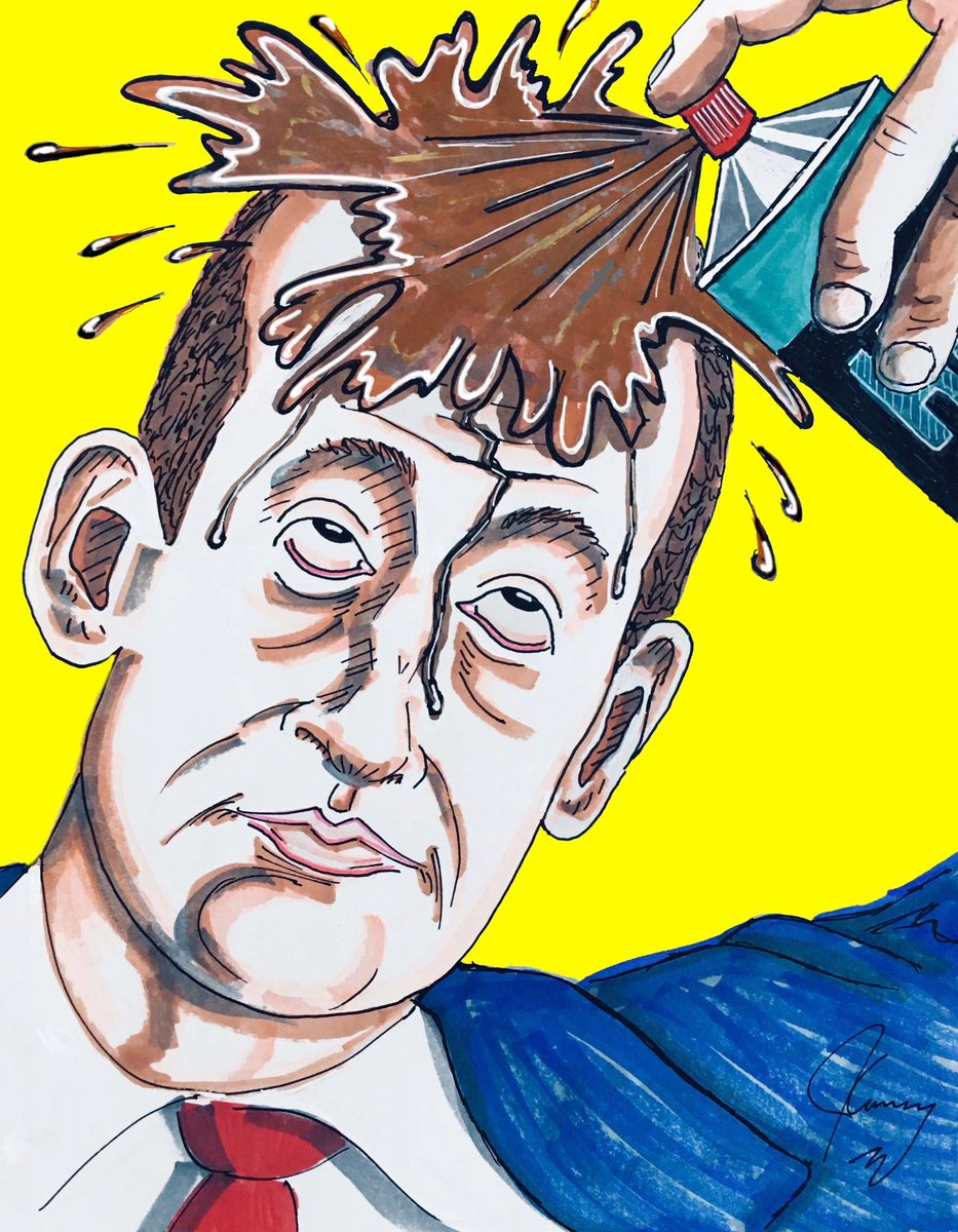 Replying to @JimCarrey: Stephen Miller: Paint for Hair, Shit for Brains