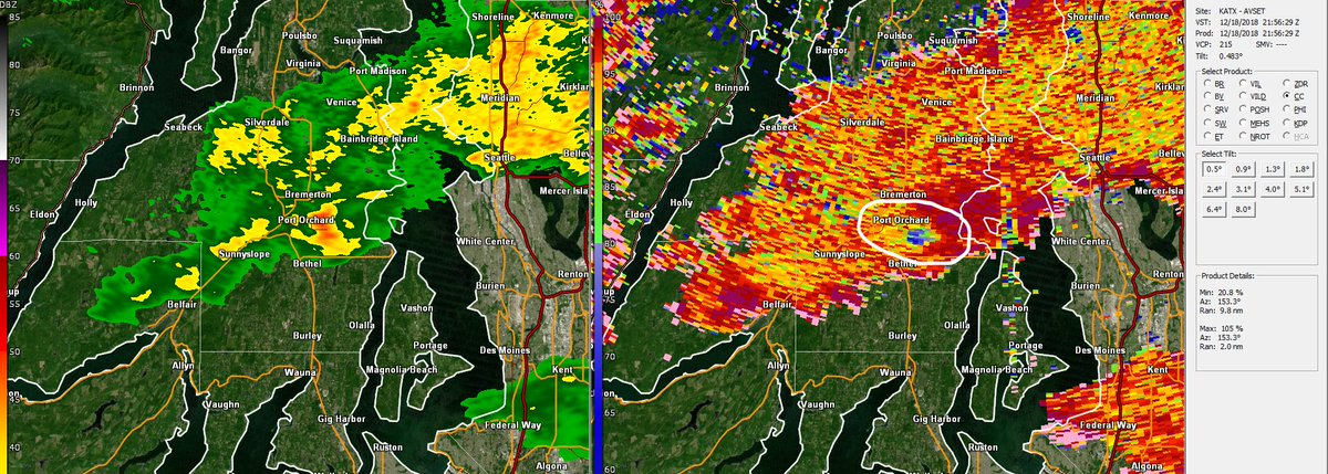 Likely brief #tornado touchdown (based on dual-pol Doppler radar data) near the Bethel area of Port Orchard. Radar analysis suggests debris (leaves, other litter) was lofted by probable brief tornado.  Storm poses NO present threat. #wawx