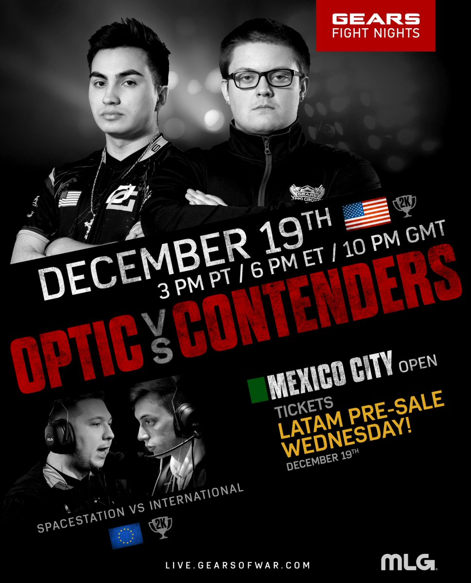 TOMORROW on Gears Fight Night:  🇪🇺 EU 2k Finals: @SpacestationGG Vs. Team International 🇺🇸 NA 2k Finals: @OpTicGaming Vs. Contenders 🇲🇽 LATAM Pre-Sale for the Gears Pro Circuit Mexico City Open  Watch on http://live.gearsofwar.com  at 3PM PT/6PM ET and claim a NEW Team Glow skin!