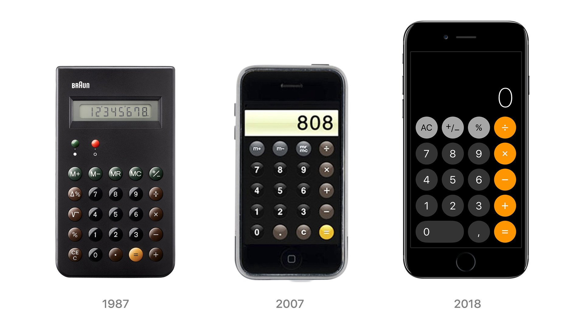 """Alex Khomutov on Twitter: """"Braun's calculator that was created by  @DieterRams in 1987 became an inspiration for the first iPhone, and even  now we can see it in the latest iOS. #braun #"""