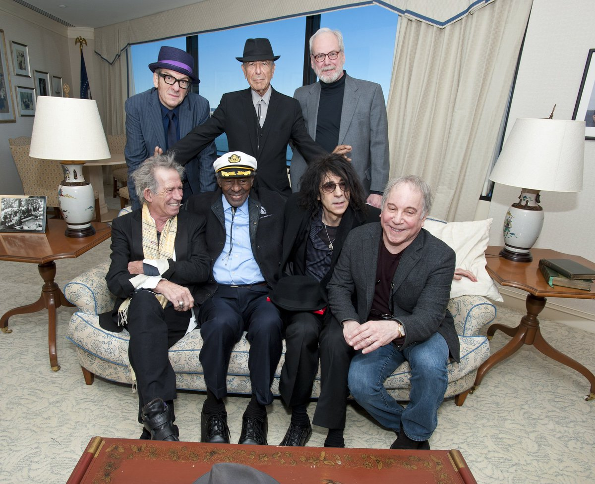 Happy 75th birthday to Keith Richards! In 2012, the Rolling Stones guitarist came to the JFK Library when we honored Leonard Cohen and Chuck Berry.   Photo © JFK Library Foundation <br>http://pic.twitter.com/2I7XrLrIyF