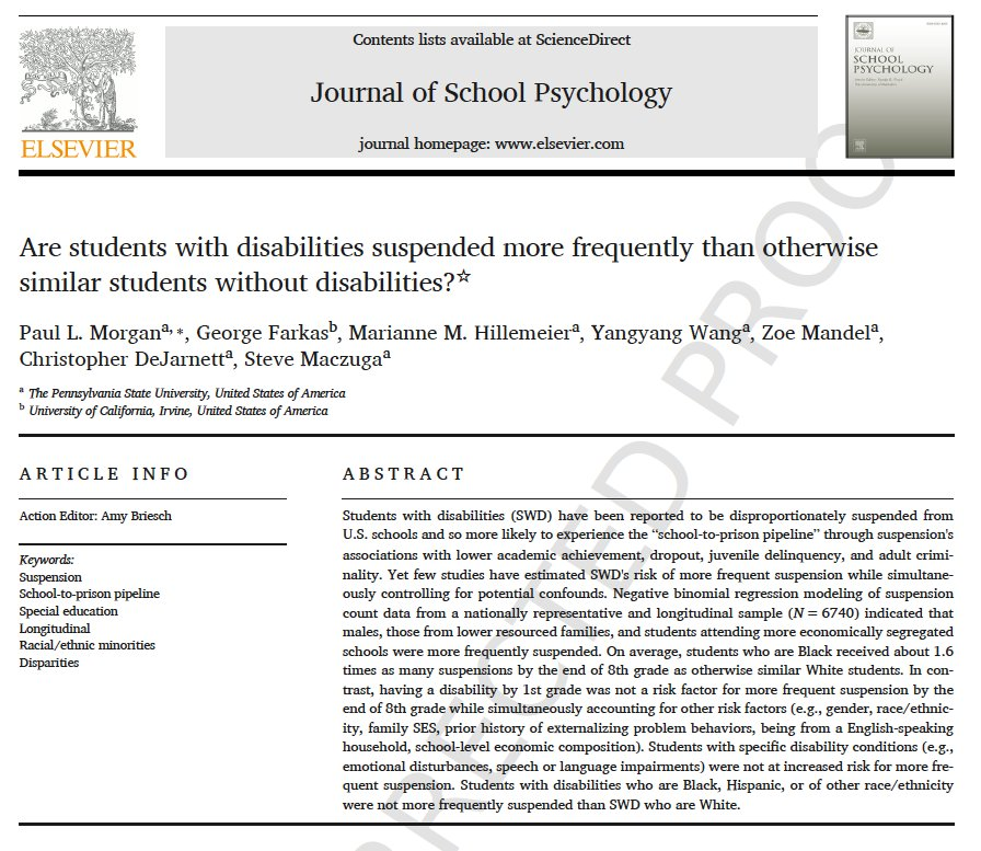 Students With Disabilities Suspended >> Paul Morgan On Twitter In This Forthcoming Study We Find That