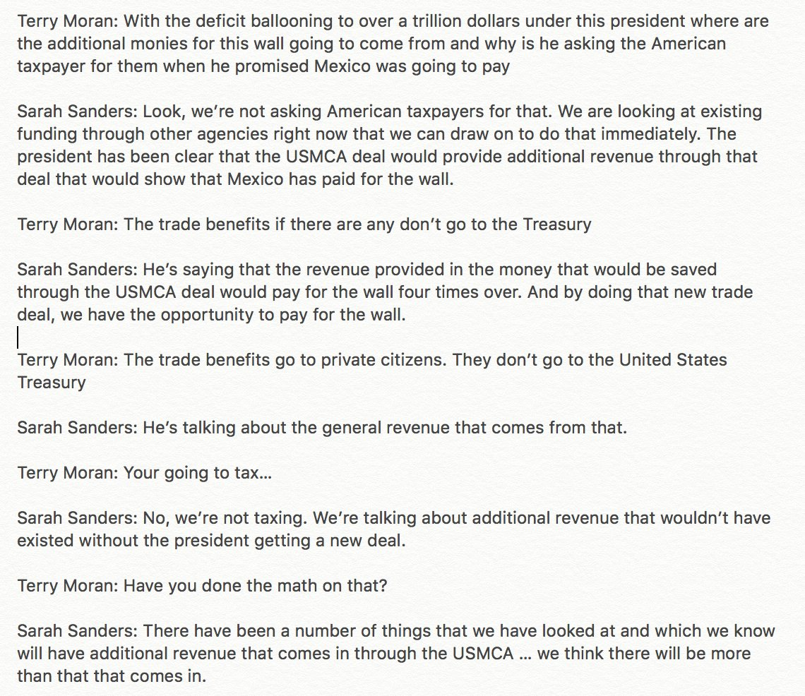 Here's the jaw-dropping exchange between Terry Moran and Sarah Sanders about where money comes from. Pro tips: taxpayers fund all federal agencies, private entities — not government — benefit directly from trade, gov revenue comes from taxes and that won't change much with USMCA.