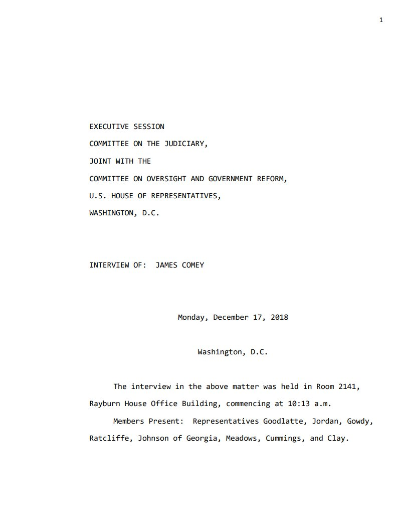 BREAKING: The House Judiciary Committee has released the transcript of former FBI Director James Comeys testimony from yesterday. judiciary.house.gov/wp-content/upl…