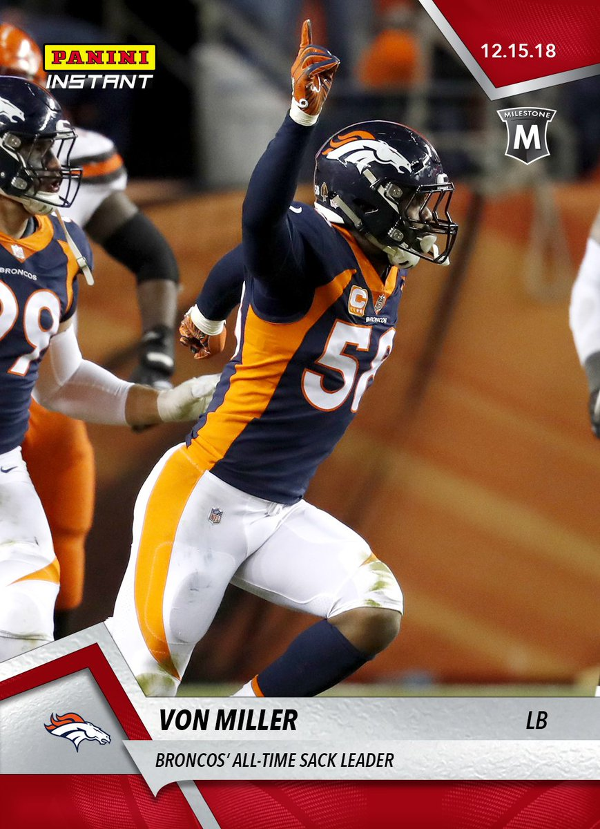 .@Broncos star @Millerlite40 recorded career sack No. 98 Saturday night to become Denver's all-time leader. Celebrate the milestone with a speci#PaniniInstantal  trading card capturing the moment. Available for just 24 hour#WhoDoYouCollects#BroncosCountry.https://t.co/3NhrhFNMuf