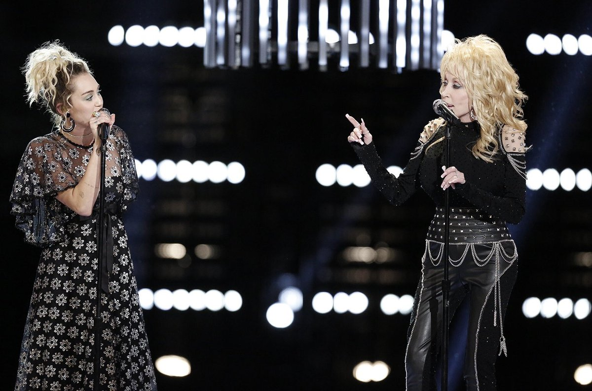 | Miley will be performing at Dolly Parton's MusiCares tribute concert hosted by the Recording Academy on Feb 8th !!   Which Dolly song should she cover? <br>http://pic.twitter.com/NfD7a5fwY7
