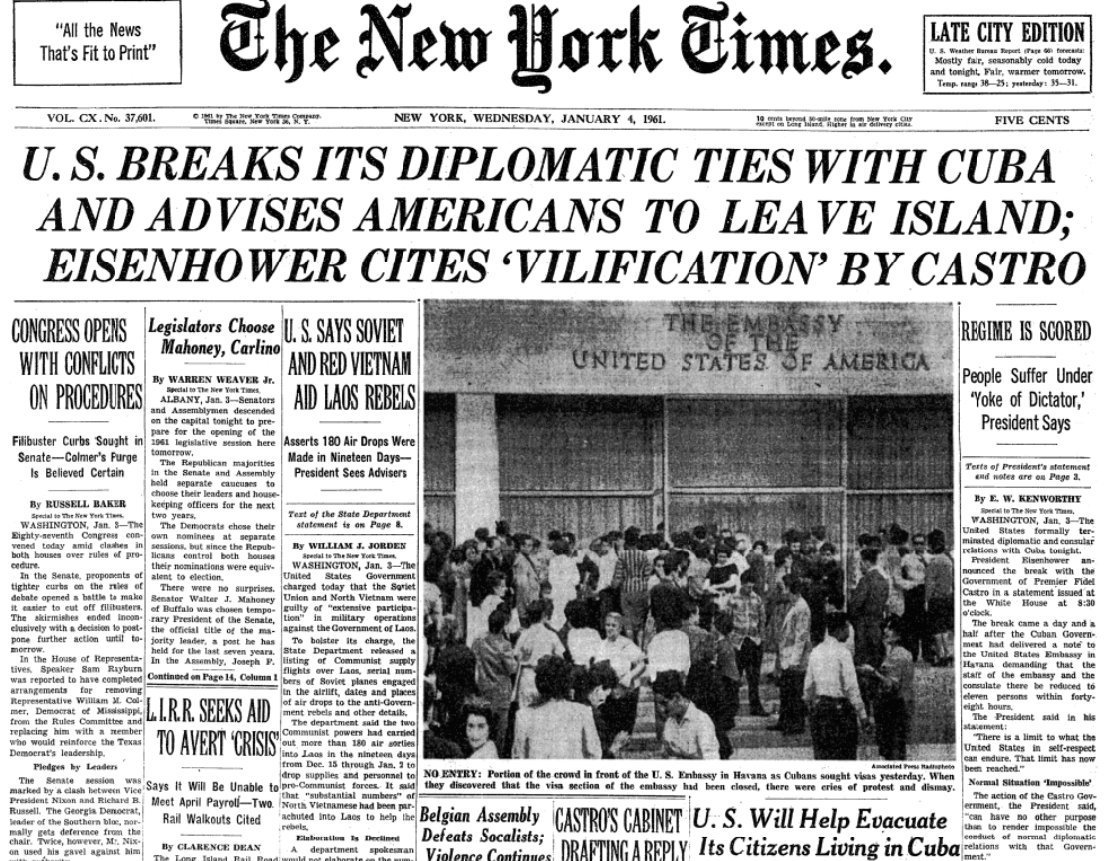 The front page Jan 4, 1961. The United States severs diplomatic relations with Cuba over the nationalization of American assets.