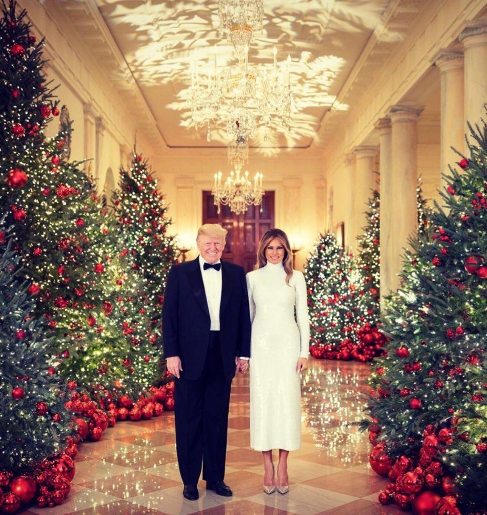 La pareja presidencial estadounidense, #DonaldTrump y #MelaniaTrump, publicaron este martes el retrato oficial para las festividades de fin de año en la Casa Blanca. 🎄✨🎄✨ https://t.co/9BbGAKg26L