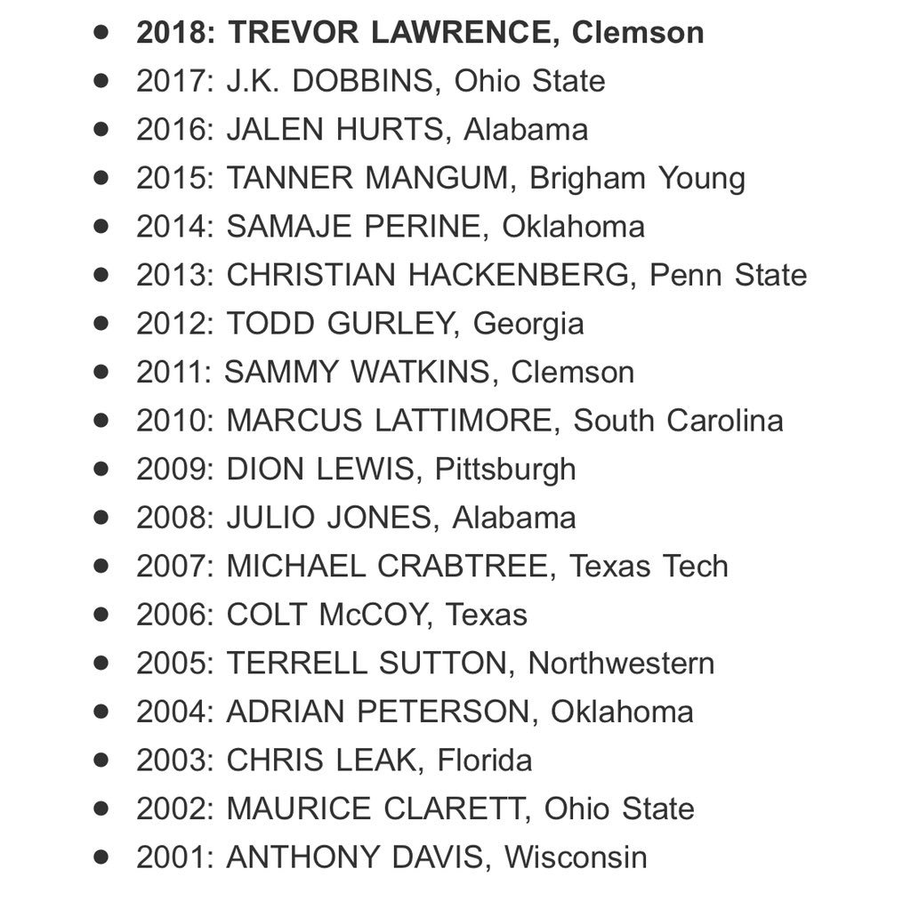 College Football Freshman Player Of The Year Announced
