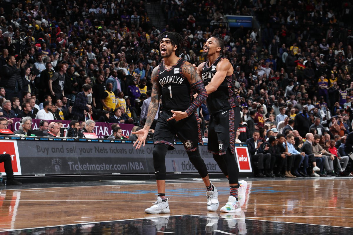 D&#39;Angelo Russell scores 22 PTS and ties a career-high with 13 AST to guide the @BrooklynNets to their 6th consecutive win!  #WeGoHard  115 #LakeShow  110  Joe Harris: 19 PTS @SDinwiddie_25: 18 PTS, 6 AST Hollis-Jefferson: 17 PTS, 8 REB LeBron James: 36 PTS, 13 REB, 8 AST <br>http://pic.twitter.com/gmz5dF31G7