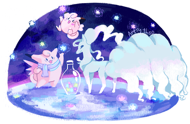 Clefairy, Clefable, and Ninetales gather konpeito!